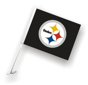 The Pittsburgh Steeler Logo Two Sided Flag shows Steelers spirit