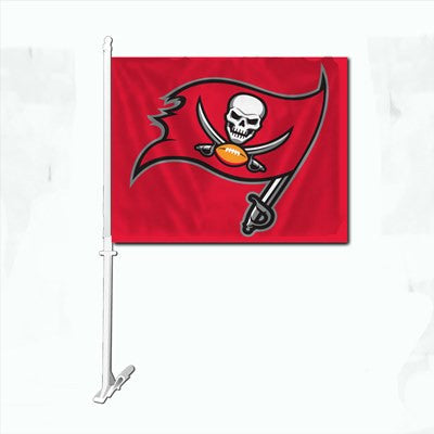 The Tampa Bay Buccaneer Logo Two Sided Flag shows Buccaneers spirit