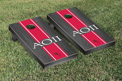 Alpha Omicron Pi Onyx Stained Cornhole Set Victory Tailgate 31269