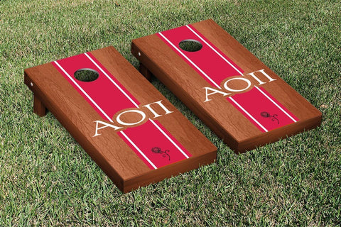 Alpha Omicron Pi Rosewood Stained Cornhole Set Victory Tailgate 31270