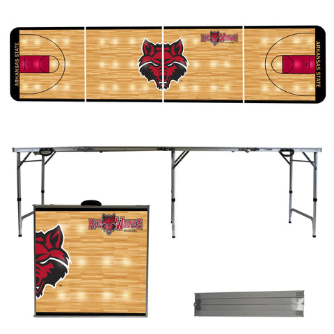 The Arkansas State Red Wolves Basketball Court Version Portable Tailgating and Cup Game Table