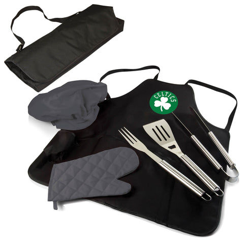 The Boston Celtics BBQ Apron and Grill Tool Set