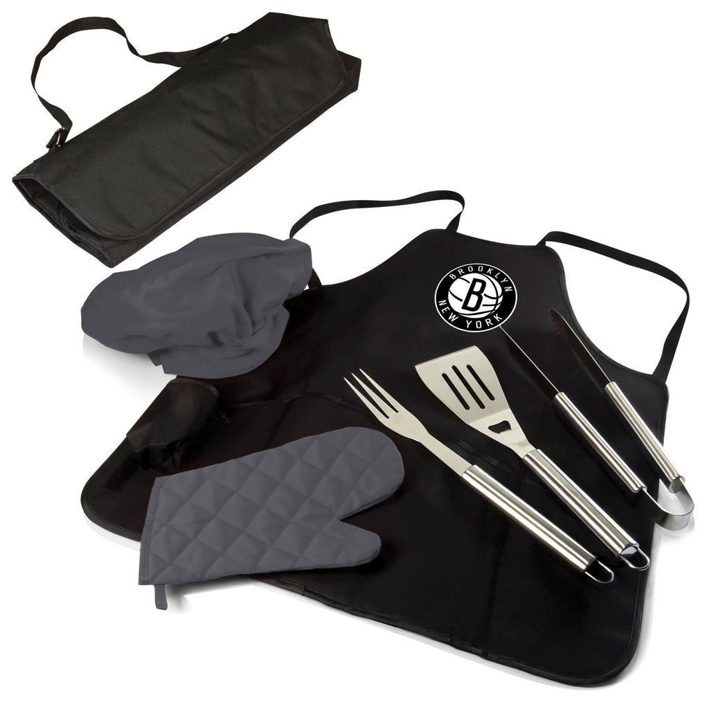 The Brooklyn Nets BBQ Apron and Grill Tool Set