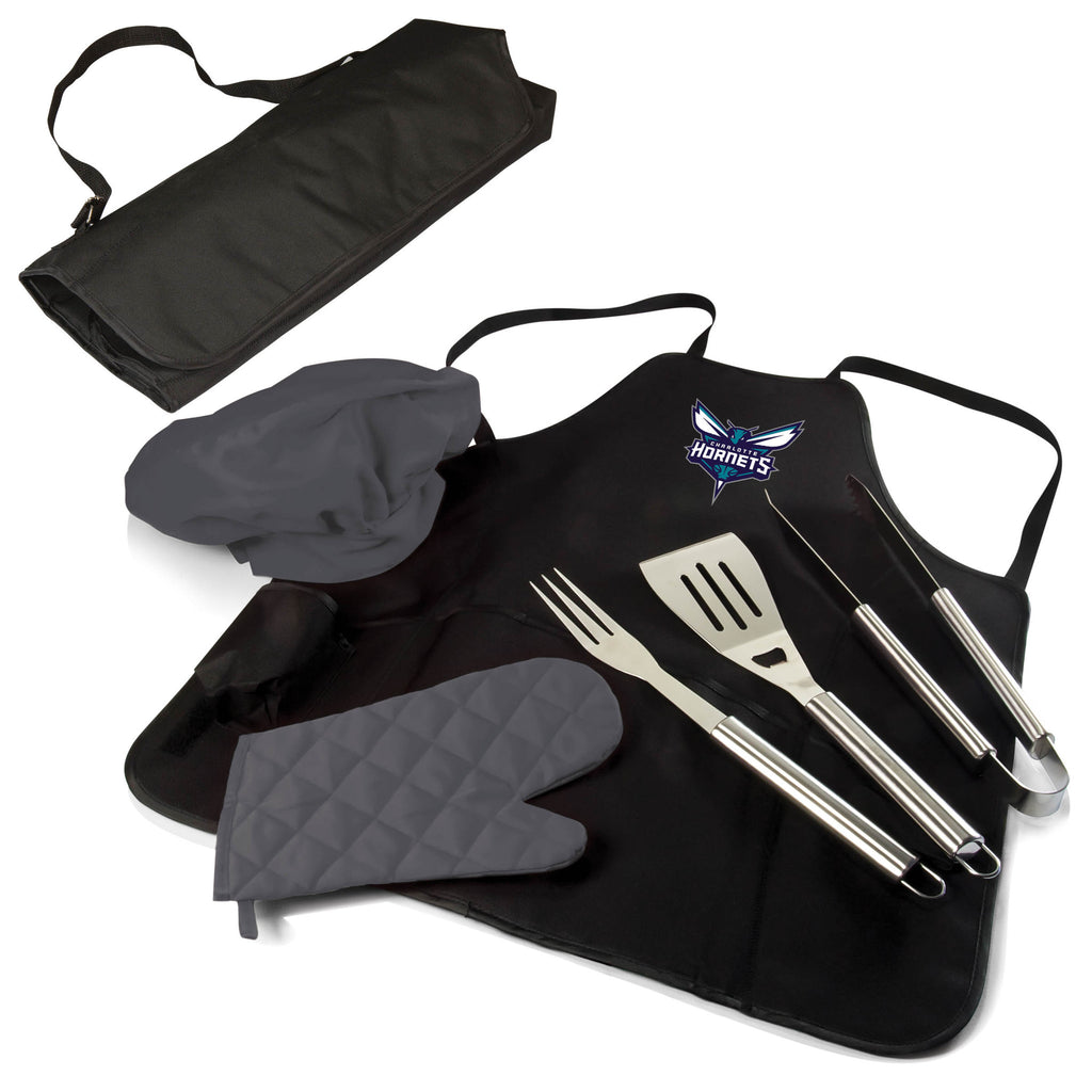 The Charlotte Hornets BBQ Apron and Grill Tool Set