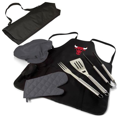 The Chicago Bulls BBQ Apron and Grill Tool Set