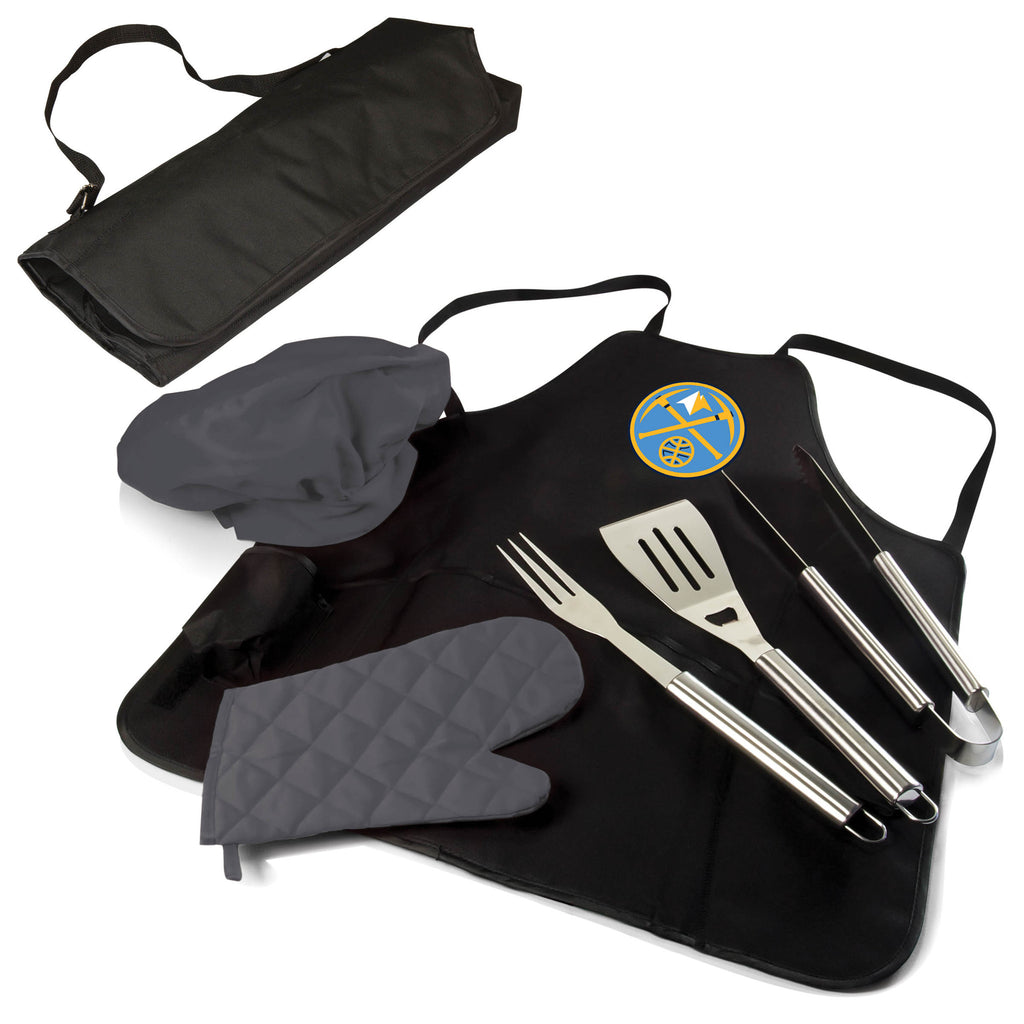 The Denver Nuggets BBQ Apron and Grill Tool Set