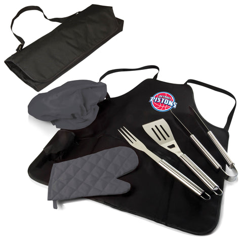 The Detroit Pistons BBQ Apron and Grill Tool Set