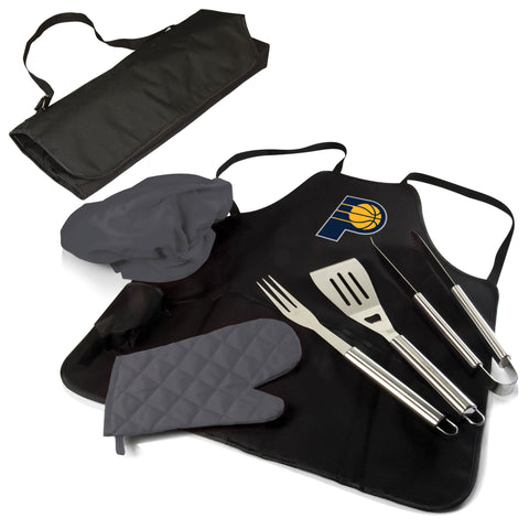 The Indiana Pacers BBQ Apron and Grill Tool Set
