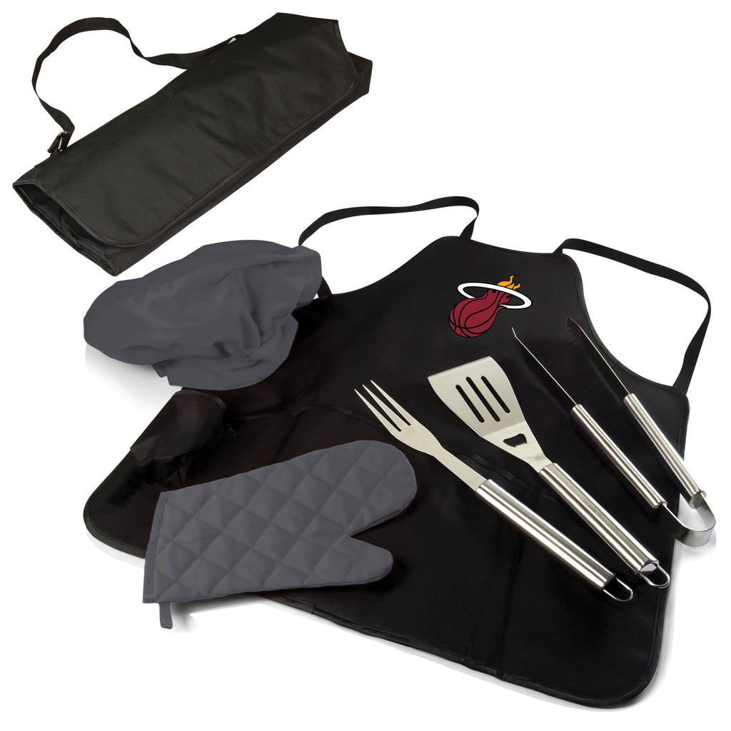 The Miami Heat BBQ Apron and Grill Tool Set