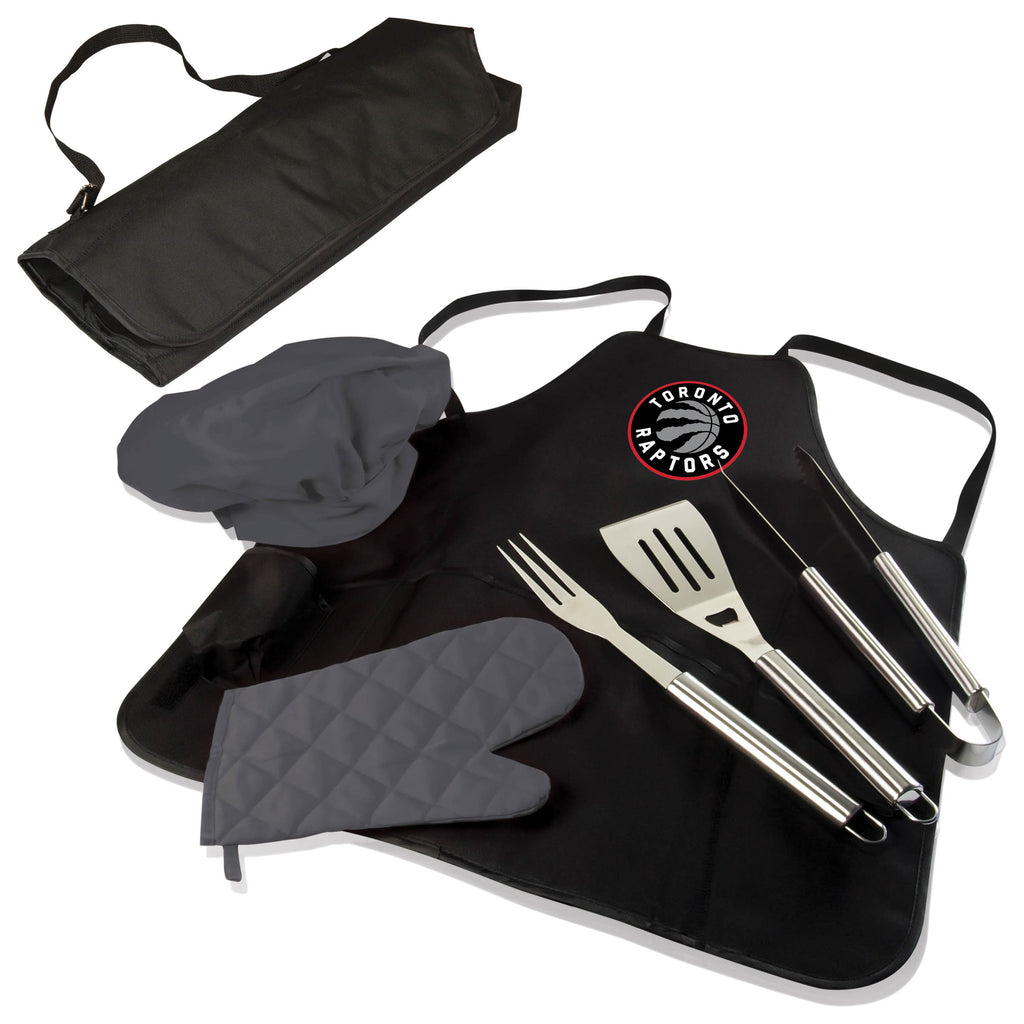 The Utah Jazz BBQ Apron and Grill Tool Set
