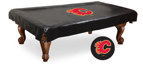 The Calgary Flames 9' Pool Table Cover - Holland Bar BCV9CalFla
