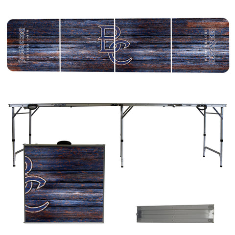 The Blinn College Buccaneers Weathered Version Portable Tailgating and Cup Game Table
