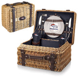 The Denver Broncos Champion Picnic Basket with picnicking service for two