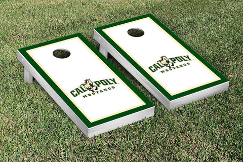 Cal Poly Mustangs Cornhole Game Set Border Version 2 - Victory Tailgate 15459