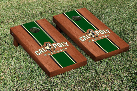 Cal Poly Mustangs Rosewood Stained Stripe Version Cornhole Set Victory Tailgate 15462