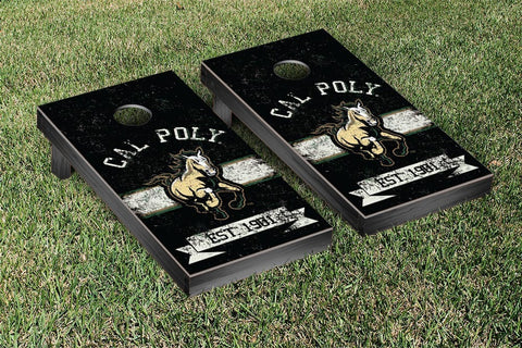 Cal Poly Mustangs Cornhole Boards and bags, Banner Vintage Version - Victory Tailgate 32984