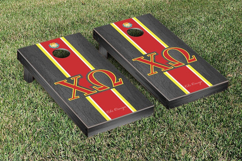 Chi Omega Onyx Stained Cornhole Set Victory Tailgate 31285