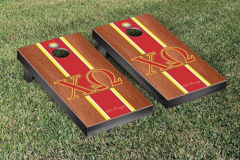 Chi Omega Rosewood Stained Cornhole Set Victory Tailgate 31286