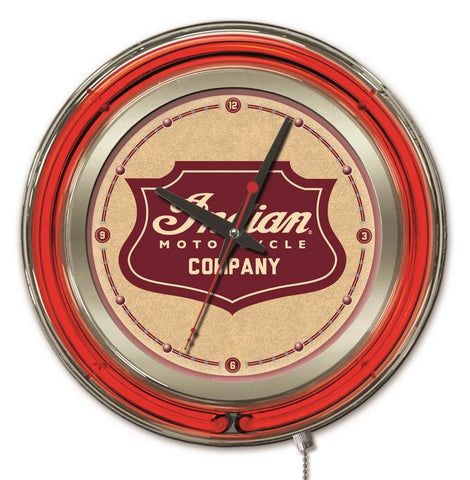 Indian Motorcycle Shield Neon Clock