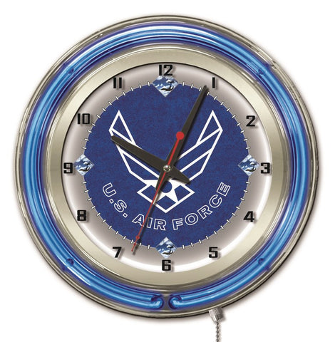 "U.S. Air Force Double Neon Ring, 19"" dia. Logo Clock by Holland Bar Stool Company"