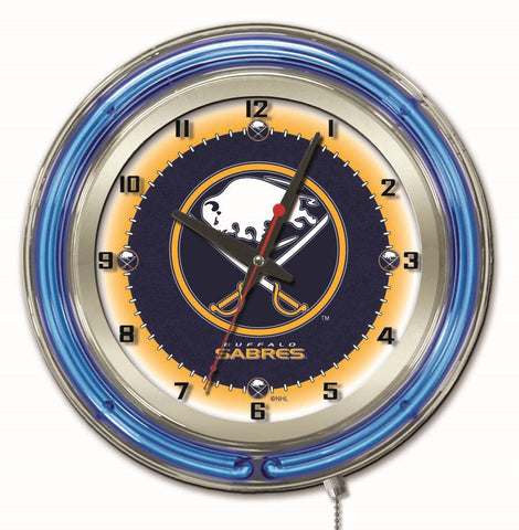"Buffalo Sabres Double Neon Ring, 19"" dia. Logo Clock by Holland Bar Stool Company"