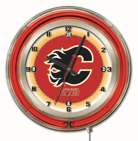 "Calgary Flames Double Neon Ring, 19"" dia. Logo Clock by Holland Bar Stool Company"