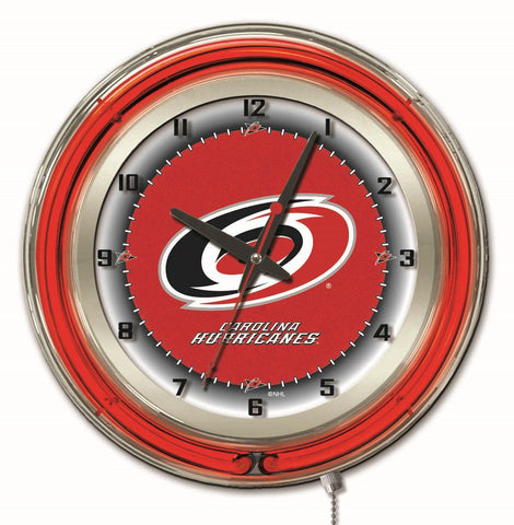 "Carolina Hurricanes Double Neon Ring, 19"" dia. Logo Clock by Holland Bar Stool Company"