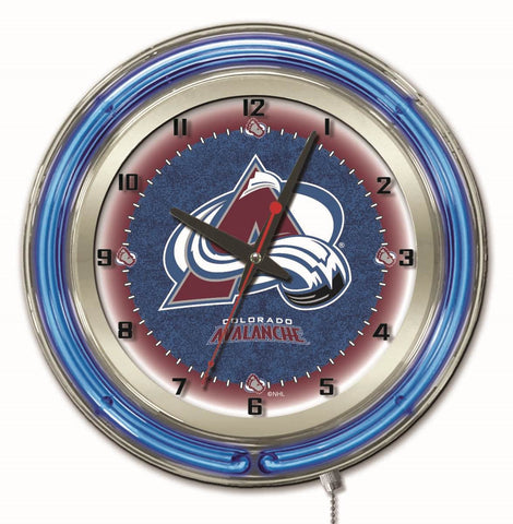 "Colorado Avalanche Double Neon Ring, 19"" dia. Logo Clock by Holland Bar Stool Company"