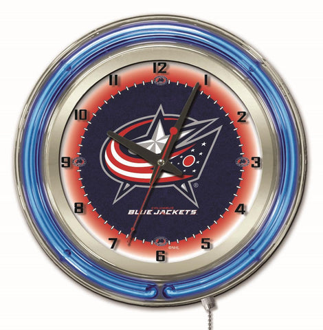 "Columbus Blue Jackets Double Neon Ring, 19"" dia. Logo Clock by Holland Bar Stool Company"