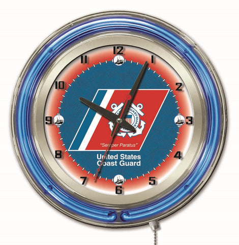 "U.S. Coast Guard Double Neon Ring, 19"" dia. Logo Clock by Holland Bar Stool Company"