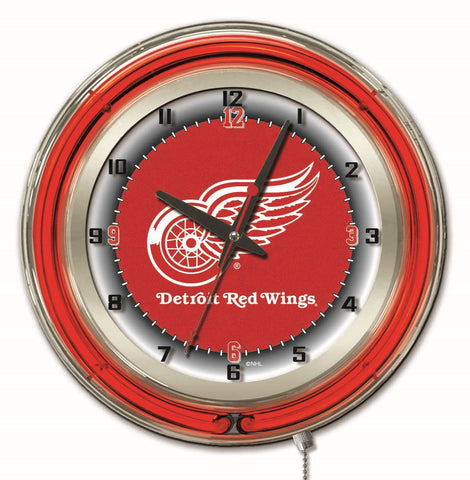"Detroit Red Wings Double Neon Ring, 19"" dia. Logo Clock by Holland Bar Stool Company"