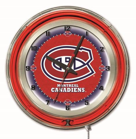 "Montreal Canadiens Double Neon Ring, 19"" dia. Logo Clock by Holland Bar Stool Company"