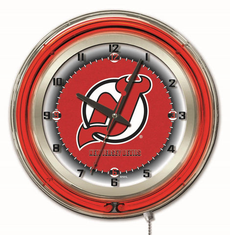 "New Jersey Devils Double Neon Ring, 19"" dia. Logo Clock by Holland Bar Stool Company"