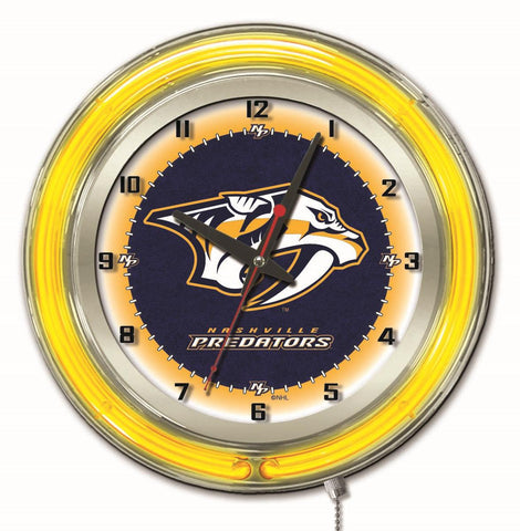 "Nashville Predators Double Neon Ring, 19"" dia. Logo Clock by Holland Bar Stool Company"
