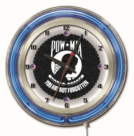 "POW/MIA Double Neon Ring, 19"" dia. Logo Clock by Holland Bar Stool Company"