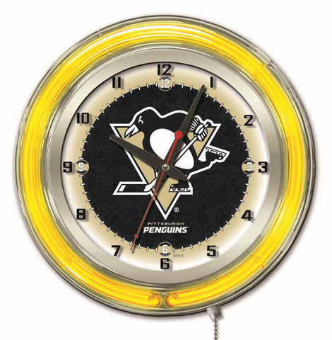 "Pittsburgh Penguins Double Neon Ring, 19"" dia. Logo Clock by Holland Bar Stool Company"