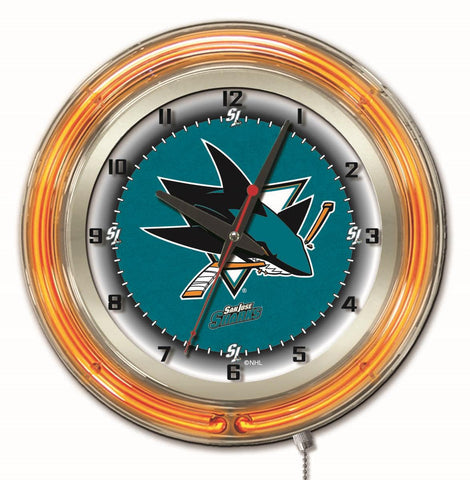 "San Jose Sharks Double Neon Ring, 19"" dia. Logo Clock by Holland Bar Stool Company"