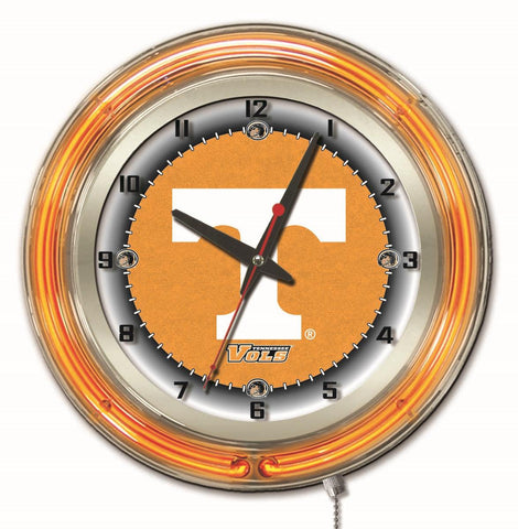 "Tennessee Double Neon Ring, 19"" dia. Logo Clock by Holland Bar Stool Company"