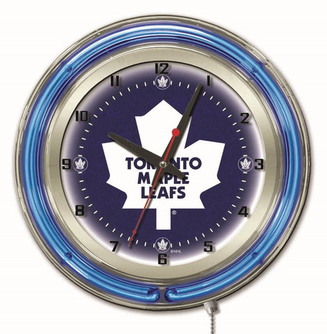 "Toronto Maple Leafs Double Neon Ring, 19"" dia. Logo Clock by Holland Bar Stool Company"