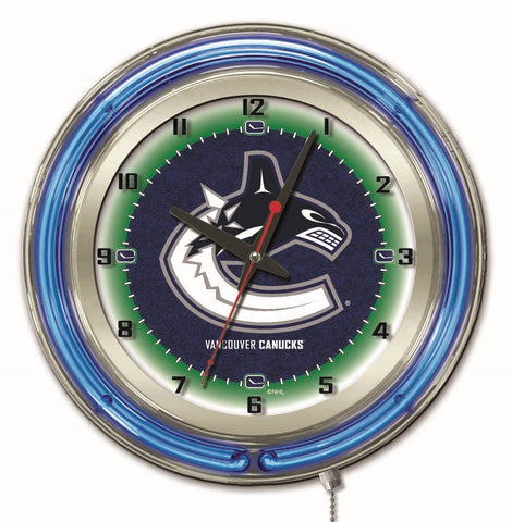 "Vancouver Canucks Double Neon Ring, 19"" dia. Logo Clock by Holland Bar Stool Company"