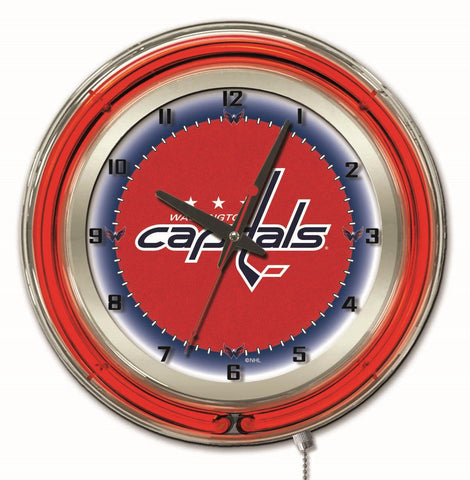 "Washington Capitals Double Neon Ring, 19"" dia. Logo Clock by Holland Bar Stool Company"