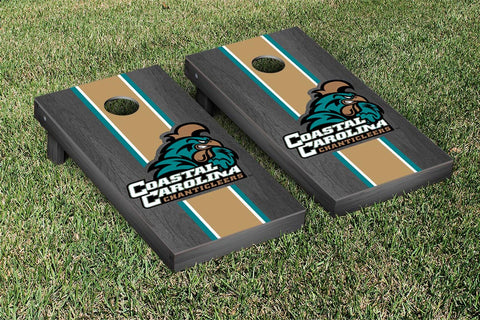 Coastal Carolina Chanticleer Onyx Stained Stripe Version Cornhole Set Victory Tailgate 23831