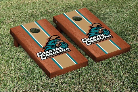 Coastal Carolina CCU Chanticleers Rosewood Stained Stripe Version Cornhole Set Victory Tailgate 16772