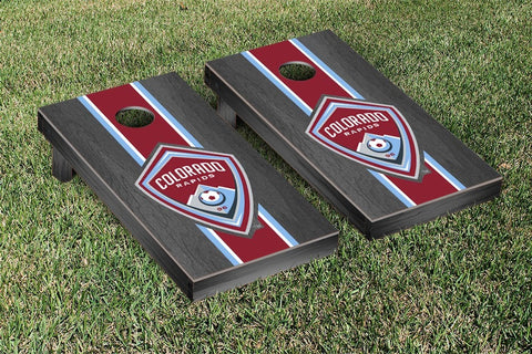 Colorado Rapids Onyx Stained Stripe Version Cornhole Game Set by Victory Tailgate