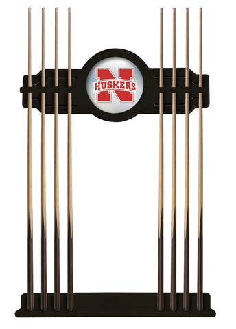 Nebraska Cornhuskers Pool Cue Wall Rack - Holland Bar Black CueBKNebrUn