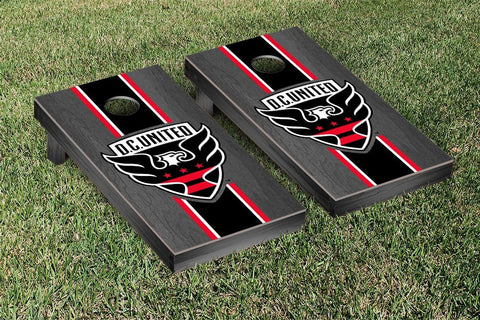 DC United Onyx Stained Stripe Version Cornhole Game Set by Victory Tailgate