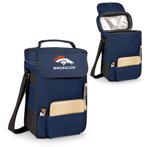 The Denver Broncos Duet Wine Tote with Cheese Board