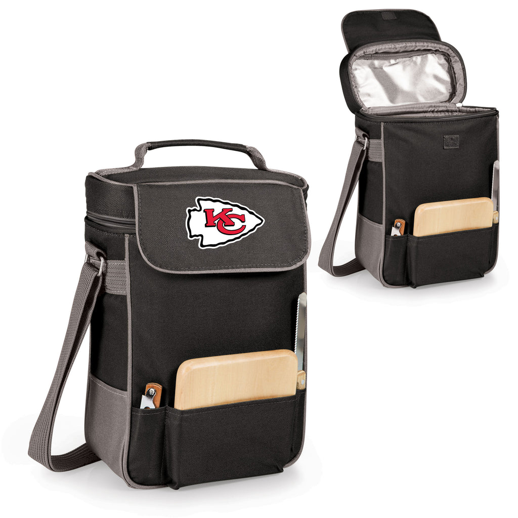 The Kansas City Chiefs Duet Wine Tote with Cheese Board