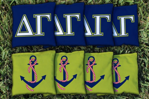 Delta Gamma Corn Hole Bag Logo Set - corn filled