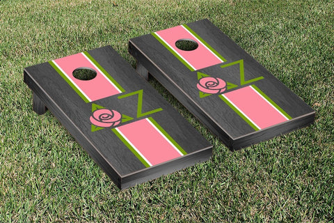 Delta Zeta  Onyx Stained Cornhole Set Victory Tailgate